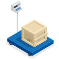 Scales for weighing heavy objects and goods. Box and cargo, package and freight, parcel and product, load packaging Royalty Free Stock Photo