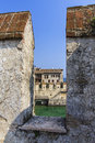 Scaliger castle a scenic view on th century in sirmione by lake garda lombardije italy Stock Photography