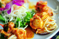 Scallop food a king of curry cooked with and spaghetti in thai style Royalty Free Stock Photography