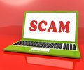 Scam laptop shows scheming hoax deceit and fraud online showing Stock Images