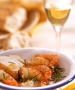 Scampi wine Stock Photo