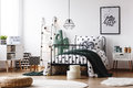 Scandi kids room with stool Royalty Free Stock Photo