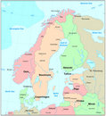 Scandinavia map Royalty Free Stock Images