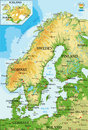 Scandinavia-physical map Royalty Free Stock Photo