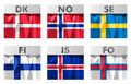 Scandinavian flags nordic icons set in polygonal style Stock Images