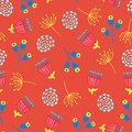 Scandinavian flowers seamless vector background. 1960s, 1970s retro floral pattern. Yellow, red, and blue doodle vintage flowers Royalty Free Stock Photo