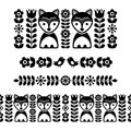 Scandinavian folk art pattern - black long stripe, seamless background, Finnish inspired, Nordic style