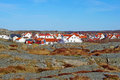 Scandinavian houses beautiful red and white in sweden gothenburg Royalty Free Stock Image