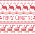 Scandinavian inspired Merry Christmas nordic pattern with  2 rows of  reindeer patten, snowflakes, trees, decorative ornaments in Royalty Free Stock Photo