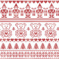 Scandinavian inspired Nordic xmas seamless pattern with elf, stars, teddy bears, snow, xmas  trees, snowflakes, stars, snow, decor Royalty Free Stock Photo