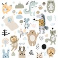 Scandinavian kids doodles elements pattern set of cute color wild animal and characters: zebra, bear, deer, squirrel, cat, rabbit