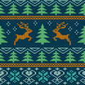 Scandinavian knitted seamless pattern with deers Stock Photo