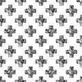 Scandinavian minimal style cross pattern with openwork net texture black and white geometry fabric print design Royalty Free Stock Image