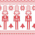 Scandinavian Nordic Christmas  pattern with nutcracker soldier , Xmas trees , snowflakes, stars, snow in red Royalty Free Stock Photo