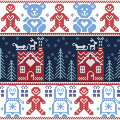 Scandinavian Nordic Christmas seamless pattern with ginger bread house, reindeer, snow, snowflakes, tree, Xmas ornament, penguins