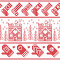 Scandinavian Nordic Christmas seamless pattern with ginger bread house, stockings, gloves, reindeer, snow, snowflakes, tree, Xmas Royalty Free Stock Photo