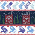 Scandinavian Nordic Christmas seamless pattern with ginger bread house, stockings, gloves, reindeer, snow, snowflakes, tree, Xmas