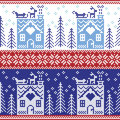 Scandinavian Nordic Christmas seamless pattern with gingerbread house, snow, reindeer, Santa's sleigh, trees, star, snow, Xmas g