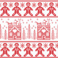 Scandinavian Nordic Christmas seamless pattern with gingerbread man , stars, snowflakes, ginger house, trees, xmas gifts, reinde