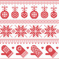 Scandinavian nordic seamless christmas pattern with xmas baubles gloves stars snowflakes xmas ornaments snow element hearts in red Stock Photo
