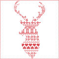 Scandinavian Nordic winter stitch, knitting  christmas pattern in  in reindeer shape shape including snowflakes, xmas trees Royalty Free Stock Photo