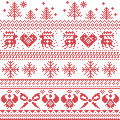 Scandinavian nordic xmas pattern with reindeer,rabbits, xmas trees, angels, bow, heart, in cross stitch Royalty Free Stock Photo