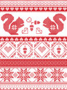 Scandinavian and Norwegian Christmas culture inspired festive winter pattern in cross stitch with squirrel, acorn, love heart