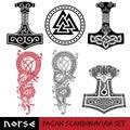 Scandinavian pagan set - Thors hammer - Mjollnir, Odin sign - Valknut and world dragon Jormundgand. Illustration of Royalty Free Stock Photo