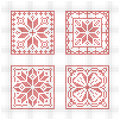 Scandinavian style cross stitch pattern set of tiles traditional biscornu design geometric redwork ornament for embroidery perfect Stock Image