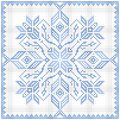 Scandinavian style cross stitch pattern traditional biscornu design geometric ornament for embroidery perfect for christmas design Stock Photo