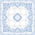 Scandinavian style cross stitch pattern traditional biscornu design geometric ornament for embroidery perfect for christmas design Stock Image