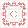 Scandinavian style cross stitch pattern traditional biscornu design geometric redwork ornament for embroidery perfect for Stock Photo