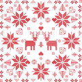 Scandinavian style Nordic winter stich, knitting seamless pattern