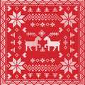Scandinavian style Nordic winter stitch, knitting seamless pattern in square, tile shape including snowflakes, trees, Christmas