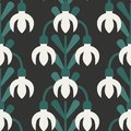 Scandinavian style snowdrops vector green and white pattern