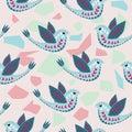 Scandinavian Birdie Pattern Design.