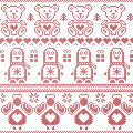 Scandinavian vintage Christmas  Nordic seamless pattern with penguin, angel, teddy bear, xmas gifts, hearts, decorative ornaments, Royalty Free Stock Photo