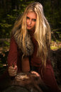 Scandinavian witch pythoness with runes Stock Photo