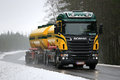 Scania R500 Tank Truck Trucking in Foggy Winter Weather Royalty Free Stock Photo