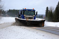 Scania Snowplow Truck at Work Royalty Free Stock Photo