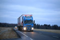 Scania Trucking on Early Winter Evening Royalty Free Stock Photo