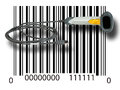 Scanner on barcode a white background Royalty Free Stock Images