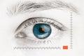 Scanner on blue human eye Royalty Free Stock Photo