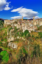 Scano small medieval town on rock stunning italy series Royalty Free Stock Image