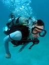 Scaphandre d'homme de plongée Photographie stock libre de droits