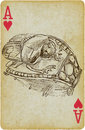 Scarab beetle playing card with the drawn figure the sacred on a golden ring description drawing consists of at least of two Stock Image