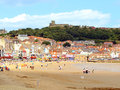 Scarborough north yorkshire the south beach town and castle at england uk Stock Photos