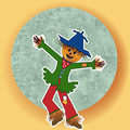 Scarecrow arms open wide with green blue moon pumpkin head dancing Royalty Free Stock Photography