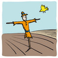 Scarecrow and bird (vector) Royalty Free Stock Image