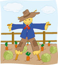 Scarecrow eps illustration of friendly looking who is protecting field from the birds Royalty Free Stock Image